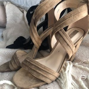 Taupe and Black Faux Suede Strappy Block Heels 7.5